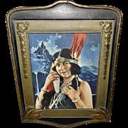 Native American Indian Maiden named Sawalla 1925 Brown and Bigelow Vintage Print