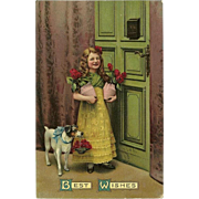 Embossed Best Wishes 1910 German Chromolithograph Postcard of Girl with Dog