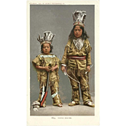 Undivided 1903 Detroit Photographic Postcard of Young Indian Braves