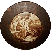 Vintage Sepia Print of Classical Woman with Peacock - Round Wood Frame