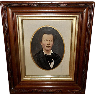 Hand Colored Photo of Gentleman in Deep Carved Frame