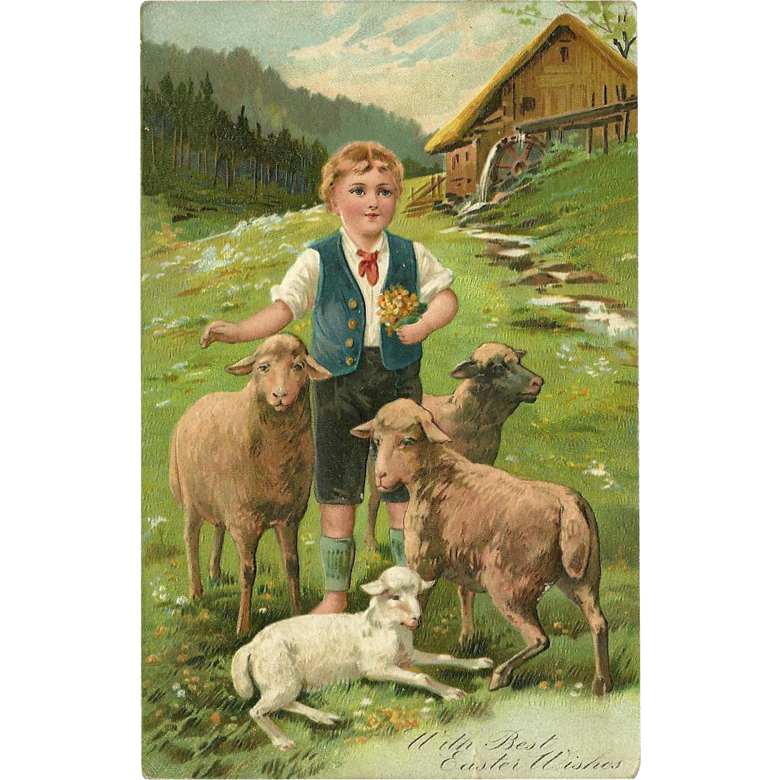 Embossed PFB Easter Postcard Boy with Sheep