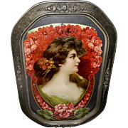 Large Embossed Chromolithograph Die Cut of Lady in Barbola Curved Glass Frame