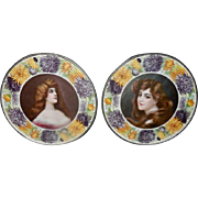 Pair of Vintage Flue Covers - Beautiful Ladies Surrounded by Floral Border