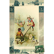 Embossed German Postcard of Children on Teeter Totter