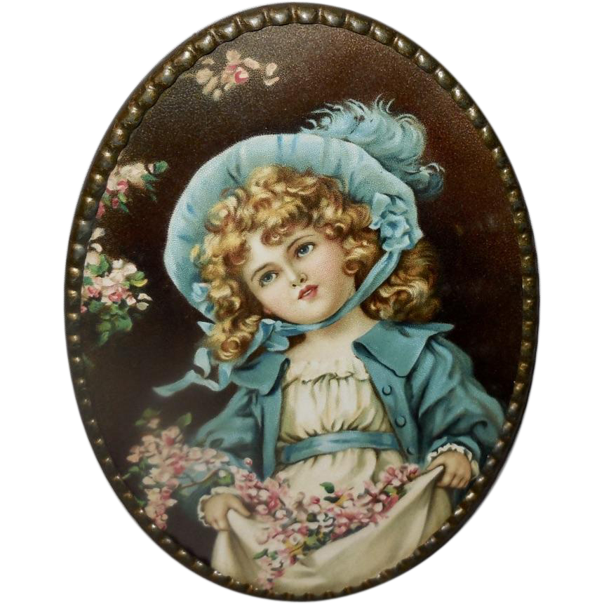 Vintage Oval Flue Cover of Girl in Blue Dress by Eva Hollyer