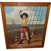 R. Atkinson Fox Vintage Print of The Adventuress - Pirate Lady signed DeForest