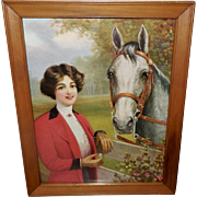 Vintage Print of Equestrian Lady in Red with Horse