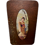 Vintage Print of Oriental Japanese Geisha  in Aesthetic Wood Frame Embellished with Flowers