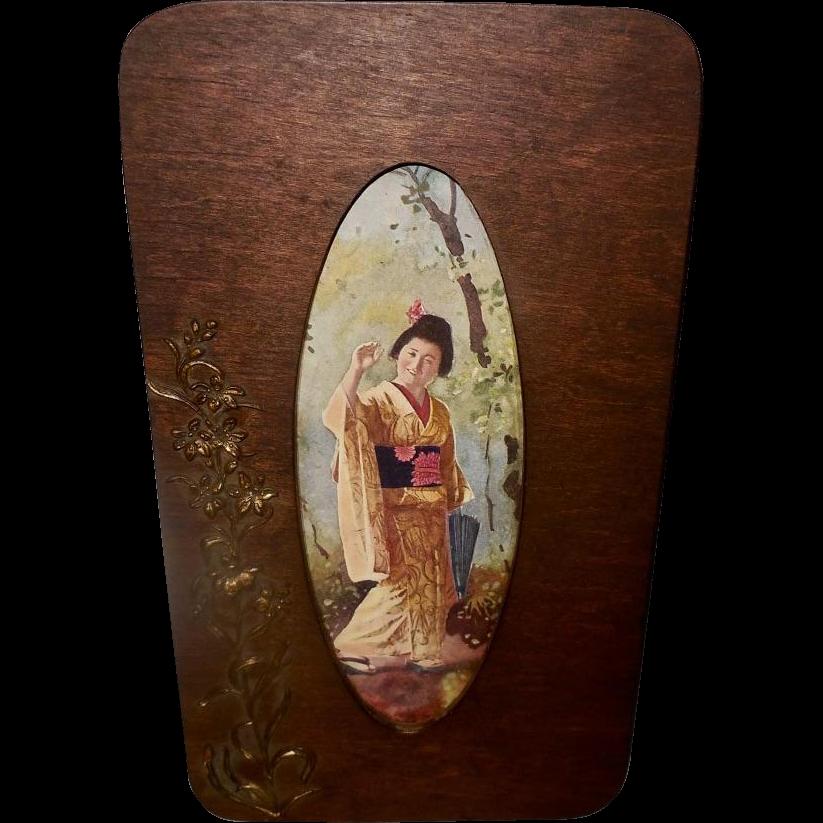 Vintage Print of Oriental Japanese Geisha  in Aesthetic Wood Frame Embellished with Flowers