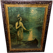F. R. Harper Large Textured Vintage Print of Indian Maiden Nokomis
