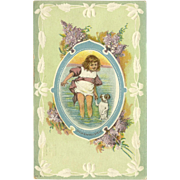 Embossed Postcard of Young Girl with Puppy Dog