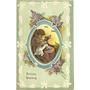 Embossed Birthday Greeting Postcard with Young Girl with Dog