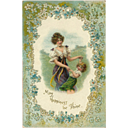 Undivided Embossed Postcard of Mother and Daughter