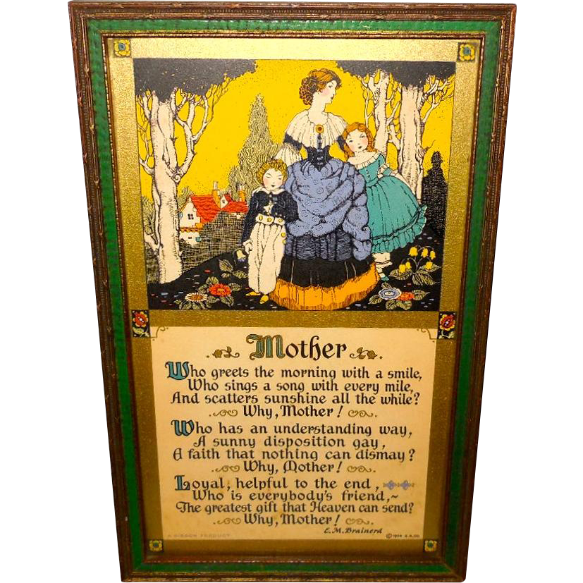 Mother's Day Motto Print Dated 1926 by E.M. Brainerd - Green and Gold Frame