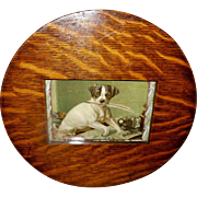Vintage Embossed Dog with Quill in Round Wood Frame
