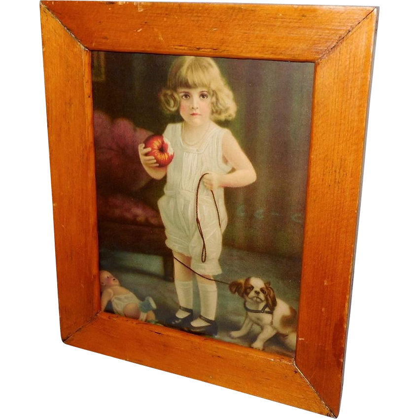 Vintage Print of Young Girl with Dog and Doll