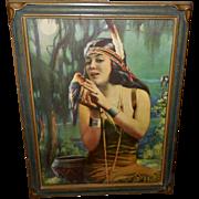 Leon Lippert Indian Maiden Calendar Print with Bird in Pie Crust Frame