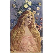Artist Signed 1907 Postcard of Art Nouveau Style Blonde