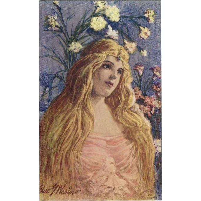 Artist Signed 1907 Postcard of Art Nouveau Style Blonde