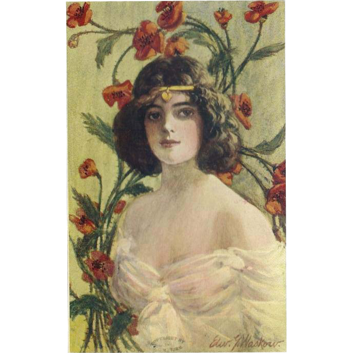 Artist Signed 1907 Postcard of Art Nouveau Style Brunette