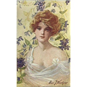 Artist Signed Postcard of Blonde with Upswept Hair Surrounded by Flowers