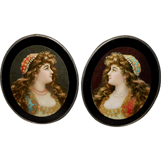 Vintage Pair of Chromolithograph Flue Covers of Gypsy Women