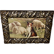 R. Atkinson Fox Vintage Print of The Guardian - Collie Guarding Sheep