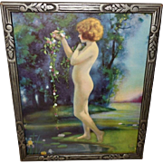 Bertram Basabe Vintage Print of Nude Lady in Dewy Morn