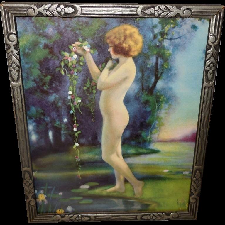 Bertram Basabe Vintage Print of Nude Lady in Dewy Morn
