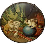 Vintage Flue Cover of Three Playful Kittens