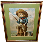 Chromolithograph of Young Boy Fishing