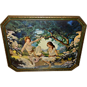 Bower of Paradise Vintage Print by Chester Van Nortwick in Octagonal Frame
