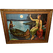 Vintage Print of Two Native American Indian Maidens in Canoe
