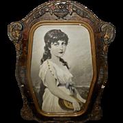 Robert Beyschlag Vintage Print of Mignon in Curved Barbola Frame