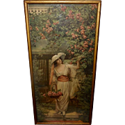 Vintage Tall Embossed Print of Woman Gathering Roses