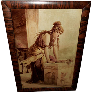 Diana Coomans Crystoleum Sepia Print of Classical Lady on Curved Glass
