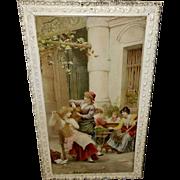 Sir Luke Fildes Print on Glass of Al-Fresco Toilette Group of Ladies