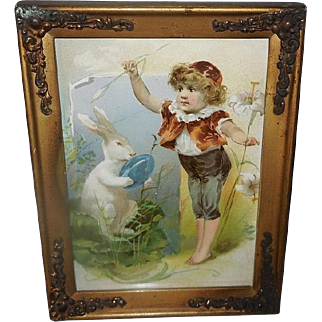 Chromolithograph by Knapp Company 1893 of Boy with Large Rabbit