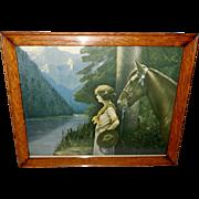 L. Goddard Vintage Print of Lady with Horse in Oak Frame