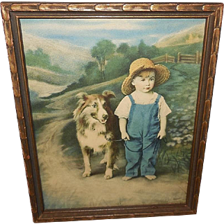 Hintermeister 1926 Tintogravure of Pals Boy with Collie Dog