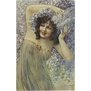 Italian Vintage Postcard of Lovely Lady with Lilacs by Guerzoni