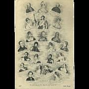 Vintage French Postcard of Napoleon Bonaparte Family Tree