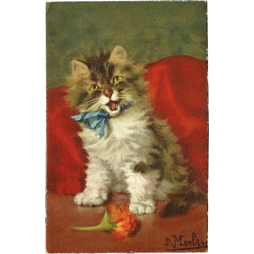 Daniel Merlin Vintage Cat or Kitten Stehli Freres Postcard