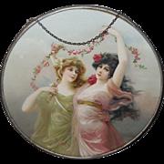 Vintage Flue Cover with Art Nouveau Style Women