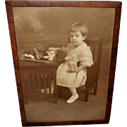 Vintage Sepia Photo Print of Young Girl with Tea Set and Steiff Bear