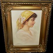 Fiorentino Vintage Print of Peasant Gypsy Girl in Ornate Frame