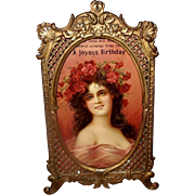 Ornate Metal Table Top Frame with Lady Postcard by Alfred Schwarz