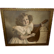 Oscar Smith 1898 Tinted Photo Print of M.B. Parkinson Mandolin Girl