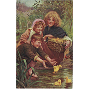 Arthur Elsley 1907 Undivided Postcard of Children with Ducklings